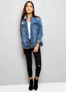 New Look - Veste oversize en jean bleu